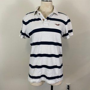 Hollister Blue and white striped polo
